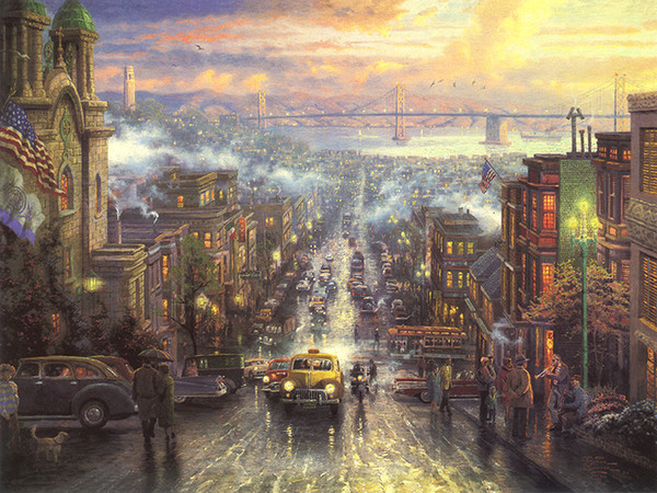 Thomas Kinkade Landscape Painting Reproduction Picture Giclee Print on Canvas American city street scene Modern Wall Art Home Decor HT290