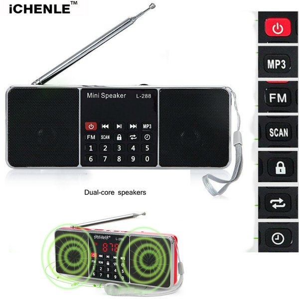 FM Radio MP3 Music Player PC Mobile Phone Stereo Speaker 3D Stereo Sound LCD Screen TF Card USB AUX Radio FM Loudspeaker