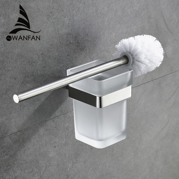 Modern Toilet brush holder Stainless Steel SUS 304 Mounting Seat Square Style Glass Cups Bathroom Hardware Fitting 610009