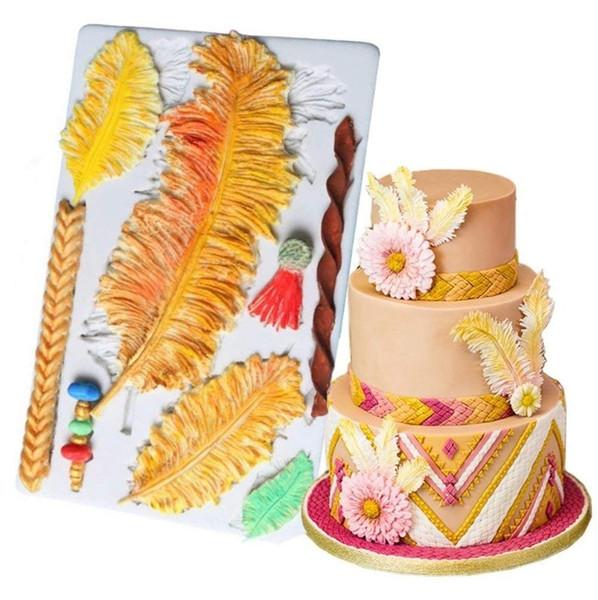2018 Large Feather Cake Fondant Molds Cake Border Decoration ...