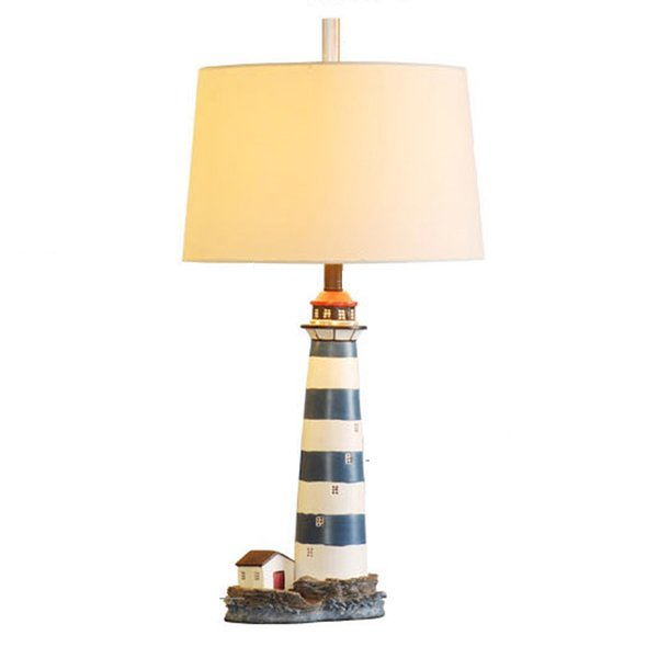 OOVOV Mediterranean Blue Lighthouse Kids Room Desk Lamp Creative Baby Room Table Lamps Living Room Desk Light