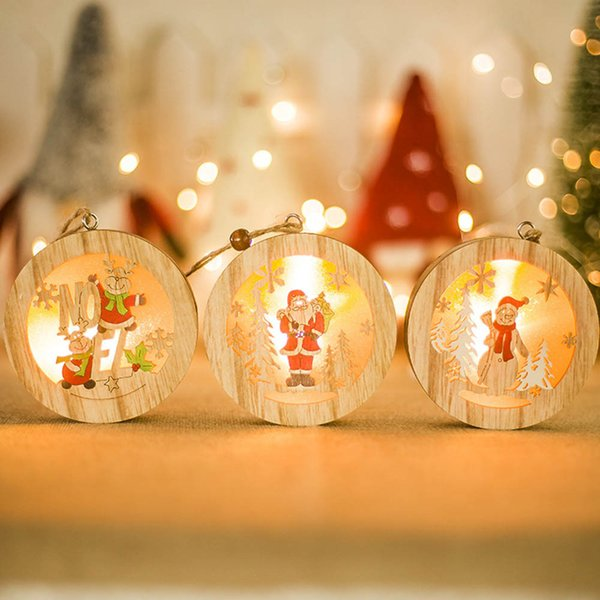 For Home LED Wood Light Chrismas Xmas Tree Hanging Ornament Garden Party Decor Christmas In Pendant& Drop Ornaments Kerst Y18102909