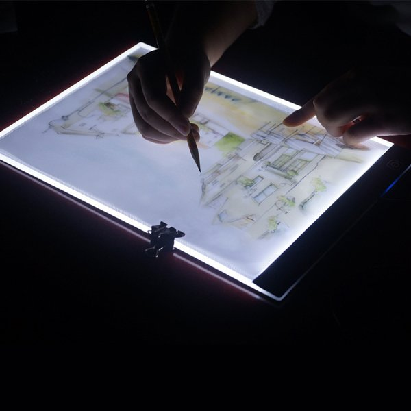 LED Lighted Drawing Board Ultra A4 Drawing Table Tablet light Pad Sketch Book Blank Canvas for Painting Watercolor Paint Y18102209