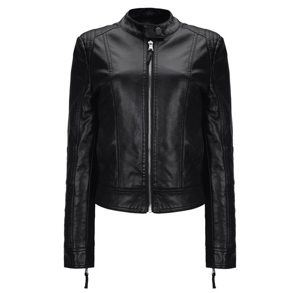 Menbone 2018 Stand Collar Pu Chaqueta de cuero Mujeres High Quality Black Faux Leather Zipper Slim Long Sleeve Motorcycle Coat Lady