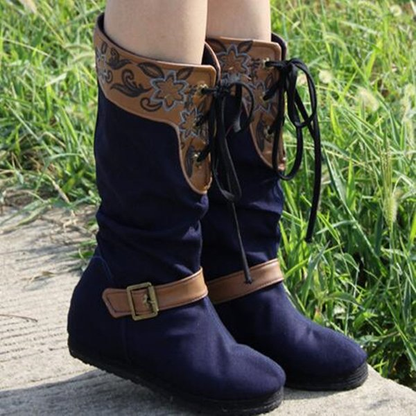 Chinese Ethnic Style Spring/Autumn Cotton Fabric Mid-Calf Fashion Casual Boots Lace-Up with Buckle Floral Embroider Vintage Shoe