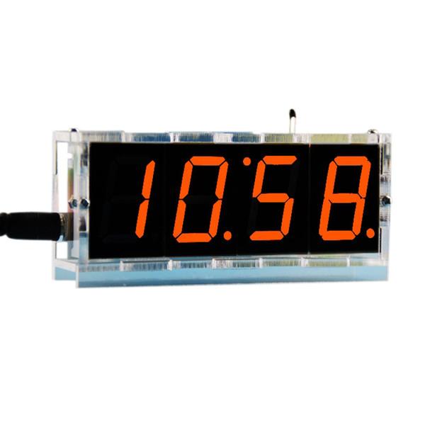 4 Digit LED DIY Electronic Digtal Alarm Clock Kit Module Large Screen Orange LED Practice Set