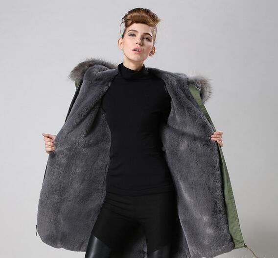 Real pictures shows Meifeng brand Grey raccoon fur trim women snow coats grey rabbit fur lined army green canvas long parka qltrade_15