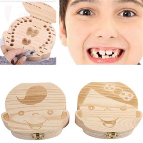 Baby Teeth wooden Storage Box Girls Boys Image Kids Tooth Save Wool Box Creative Gifts Trave Kit English Spanish Version