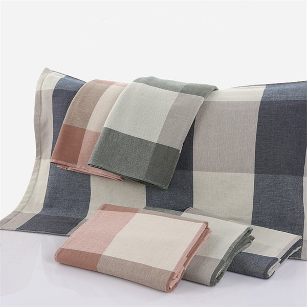 Cotton double cotton gauze nostalgic plaid Thicker models 2 price big pillow towel