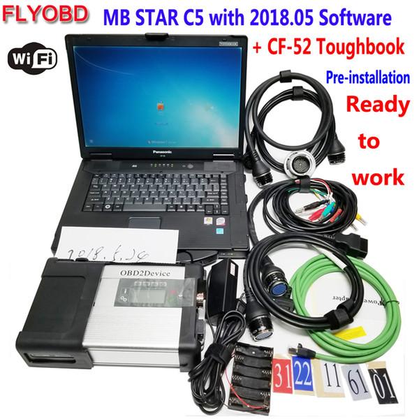 2018 Nouvel outil de diagnostic MB Star C5 SD Connect 5 Xentry avec logiciel 05/2018 Disque dur dans PC de diagnostic militaire CF52 Complètement utilisable