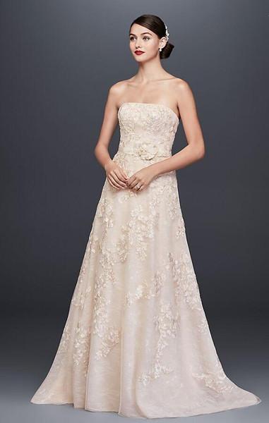 2018 HOT Custom-Made A-Line Lace Appliqued A-Line Wedding Dress and Topper CWG790 Wedding Dresses vestidos longos
