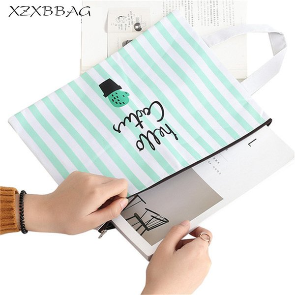 XZXBBAG Cute Cactus Zipper Waterproof Briefcase Portable Large Capacity Document Bags For Papers Book Stationery Office Supplies