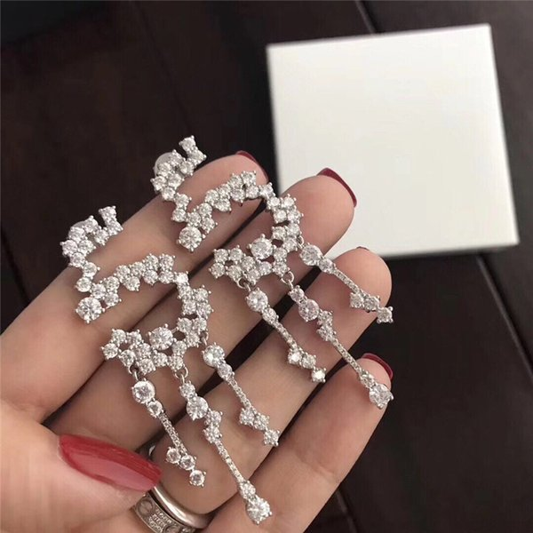 Marca de moda popular Número 5 brincos para lady Design Mulheres Festa de Casamento Jóias De Luxo para Noiva com CAIXA