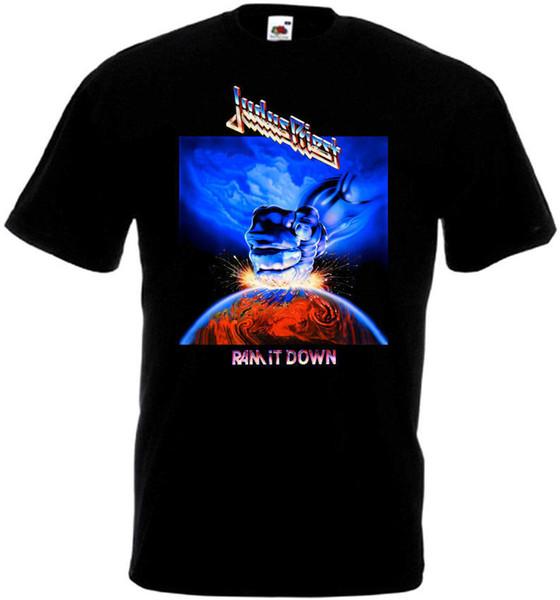 Custom T Shirt Design Men's Judas Priest Ram It Down T-Shirt Black Poster All Sizes S To 3XL Top O-Neck Short-Sleeve T Shirt