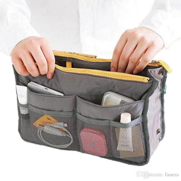 Wholesale- 2017 Women Makeup Organizer Bag Handbag Purse Large liner Travel Insert Lady Casual Cosmetic Bag Travelling Bag Multifunction