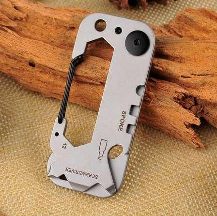 Stainless Steel Outdoor EDC Portable Gadgets, Mountain Climbing Multi-Function Folding Bed Tool, Wrench Screwdriver Key Holder