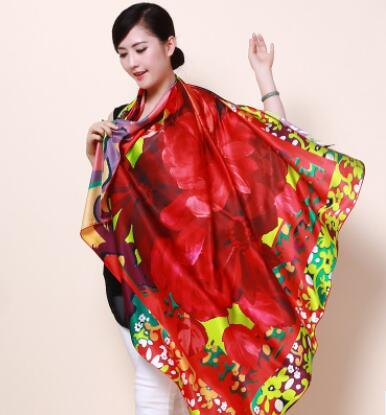 Hot sell Chinese wind big red silk crepe satin scarf digital painting large square towel shawl girl