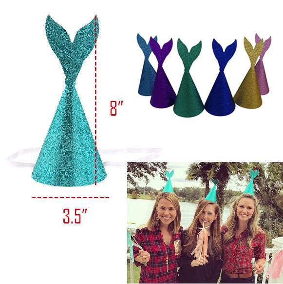 6 Colors Glitter Mermaid Tail Hats Headband Wedding Party Horn Cap Crown For Adult Children Headwear Birthday Paper Caps CCA10216 120pcs