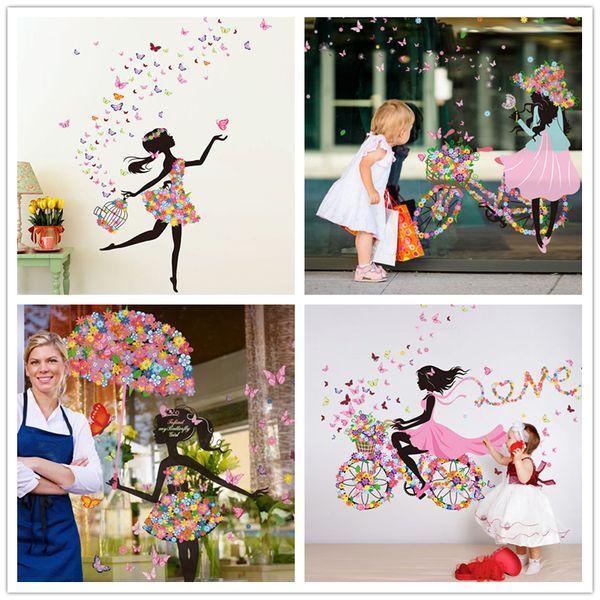 Flower Fairy Girl Wall Stickers Vinyl DIY Butterflies Mural Art for Kids Rooms Kindergarten Decoration Child Gift