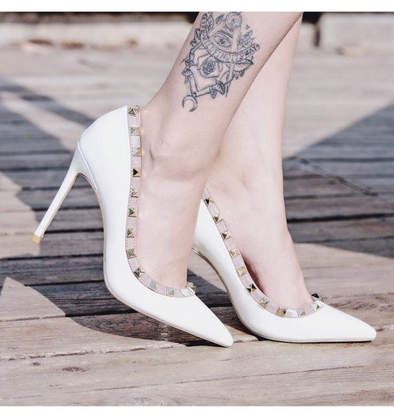 Real photo Fashion Women Pumps sexy lady white Nude patent leather spikes Point toe shoes pumps Stiletto heels boots bride wedding shoes