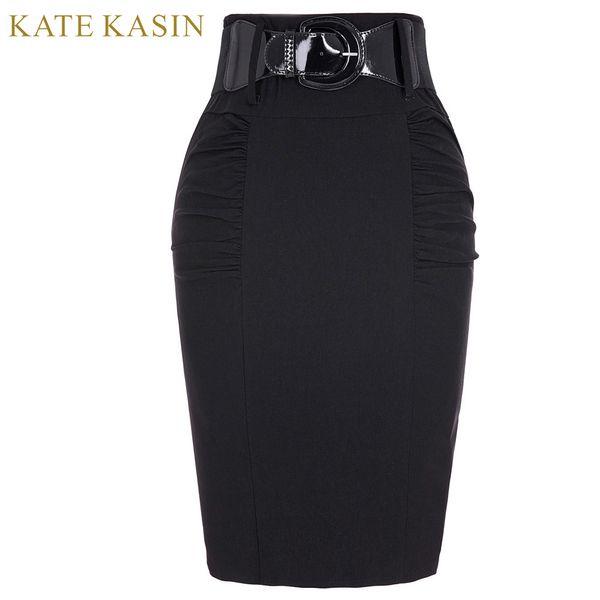 Women High Waist Vintage Retro Pencil Skirts With Belt Femme Office Work Bodycon Skirt Summer Midi Saias Kate Kasin D1891705