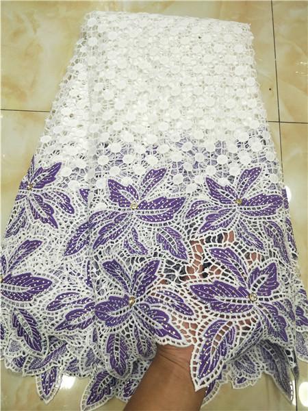 Tela africana del cordón de la boda nigeriana de alta calidad / tela del cordón del cordón de guipur para el banquete de boda 5yards /