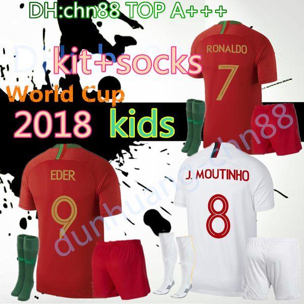Copa del mundo nuevos KIDS 2018 fútbol Jersey BOY kit + calcetines GUANTES BERNARDO MARIO ANDRE SILVA GOMES Filhos rojo blanco niño Jerseys
