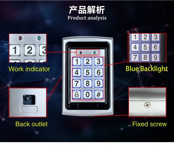 WATERproof 7612 Metal Rfid Access Control Keypad Support 1000 Users 125KHz ID Card Reader Electric Digital Password Door Lock
