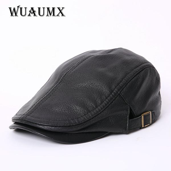 Berretti di pecora pelle Vera pelle di alta qualità per gli uomini Duckbill cappello di inverno Uomo cappello caldo Solido Nero XXL russo