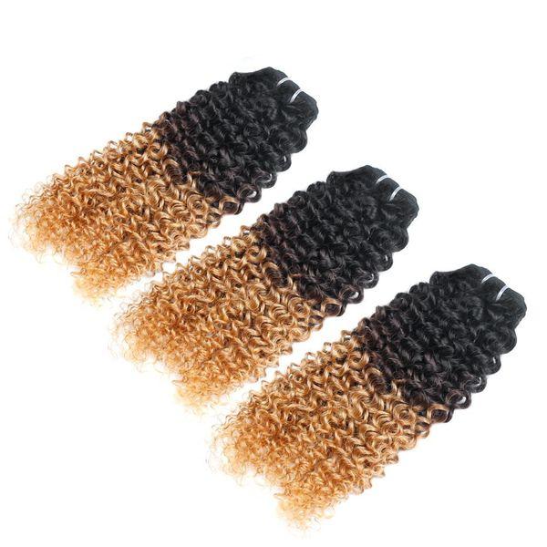 Ombre Hair Bundles 1B-4-27 Deep Wave Malaysian Human Hair Extensions Three Tone Unprocessed Beauty Hair Bundles Water Wave Bundles For Sale