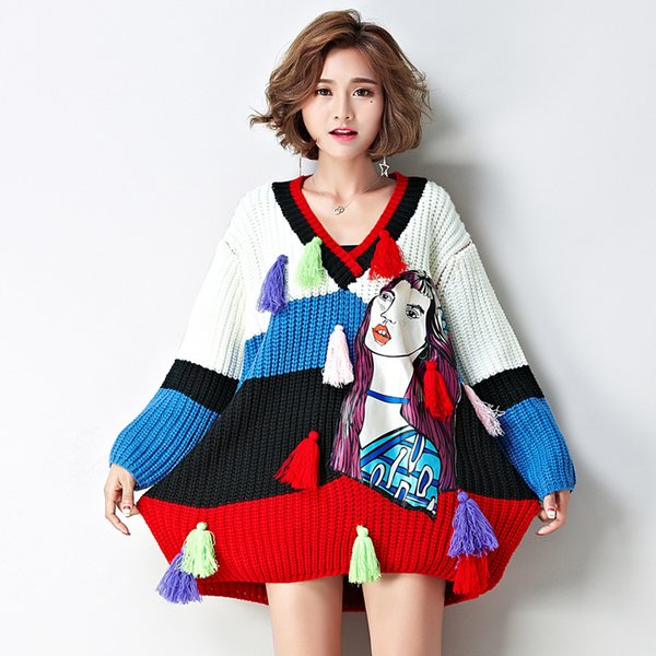Women's New Design V-neck Fashion Sweaters Patchwork Loose Fit Pullover Sweaters