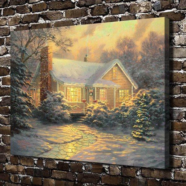(Thomas Kinkade) Christmas Cottage,Home Decor HD Printed Modern Art Painting on Canvas (Unframed/Framed)