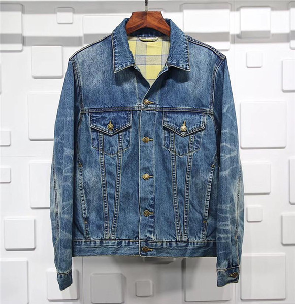 Mens Designer Denim Jackets 18ss Mens Women Luxury Brand Jackets Homme High Street Double Dog Embroidered Denim Outerwear Mens Jean Jacket