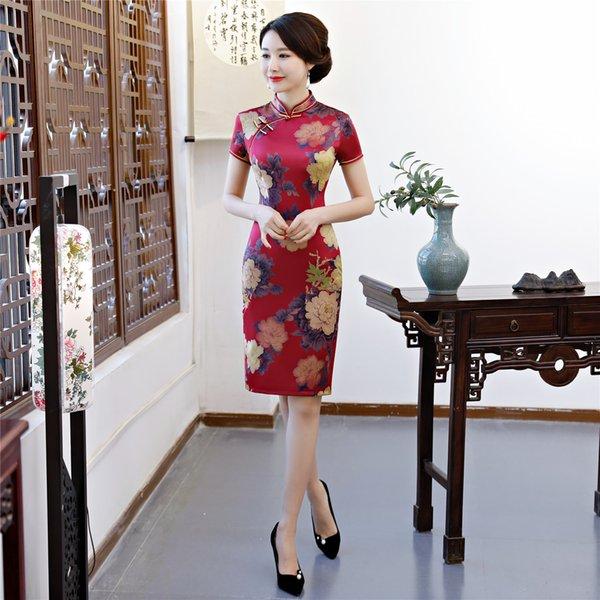 Großhandel Shanghai Geschichte Chinesischen Orientalischen Kleid Knielangen Qipao Chinesischen Kleid Kurzarm Cheongsam Kleid Floral Qipao Für Frauen