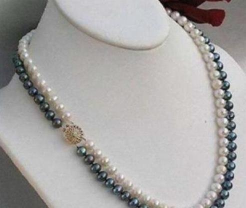 """2 rows 8-9 mm black white Akoya SOUTH SEA pearl necklace 21"""" 22"""" 14K yellow Clas"""