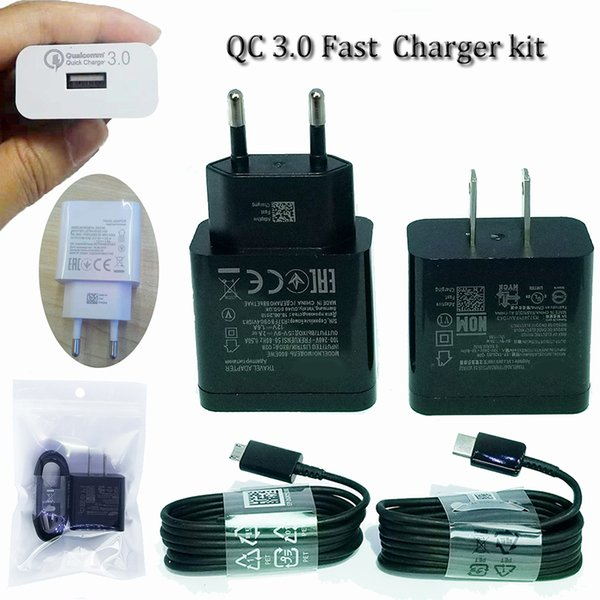 qc 3.0 s9 fast wall charger kit power adapter fit with type c or micro usb 1.2m cord 5v2a 9v1.8a 12v 1.5a power adapter fit with us eu plug