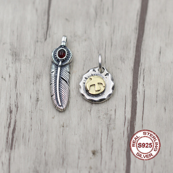 S925 pendentif en argent sterling style indien rétro en laiton laiton personnalité classique série de plumes envoyer un cadeau à aimer