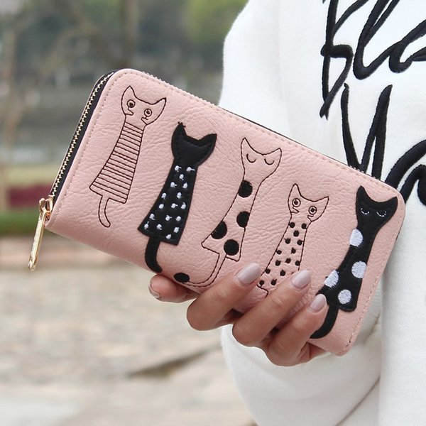 New trend zipper long wallet cartoon cute embroidery modern cat PU leather ladies wallet can put mobile phone