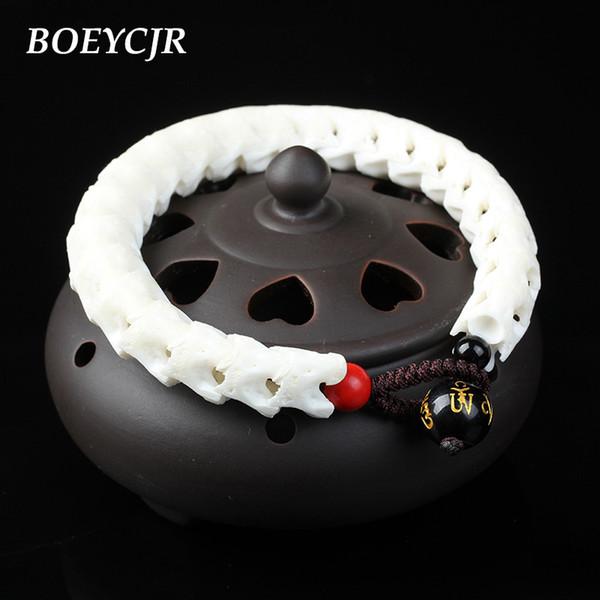 BOEYCJR 100% Thailand Natural Snake Bone Bangles & Bracelets Vintage Jewelry Energy Bracelet For Women or Men Ethnic Gift 2018