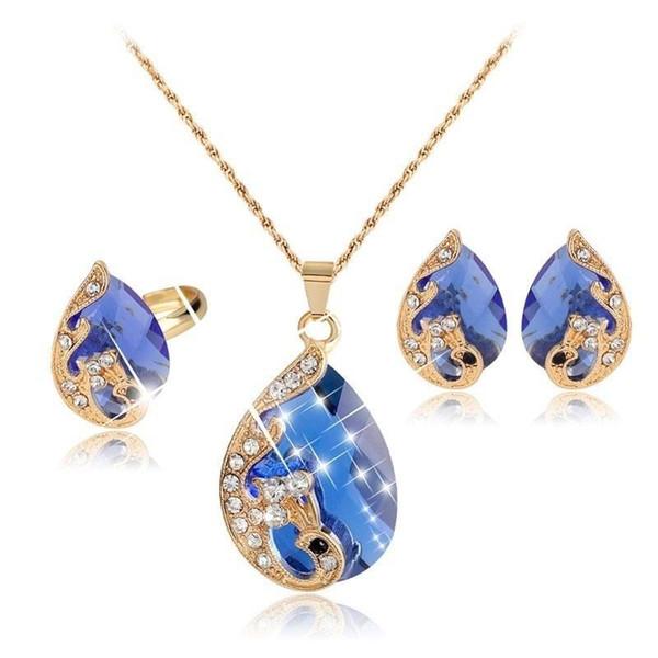 Women Jewelry Set Chic Peacock Rhinestone Pendant Chain Necklace Earrings Ring