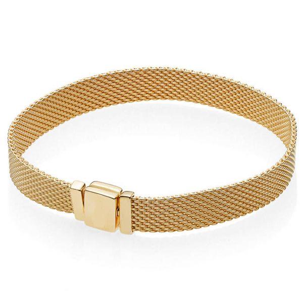 Nouveau 925 Sterling Bracelet En Argent Or Couleur Brillance Tissé Mesh Réflexions Bracelet Bracelet Fit Femmes Perle Charme Diy Bijoux