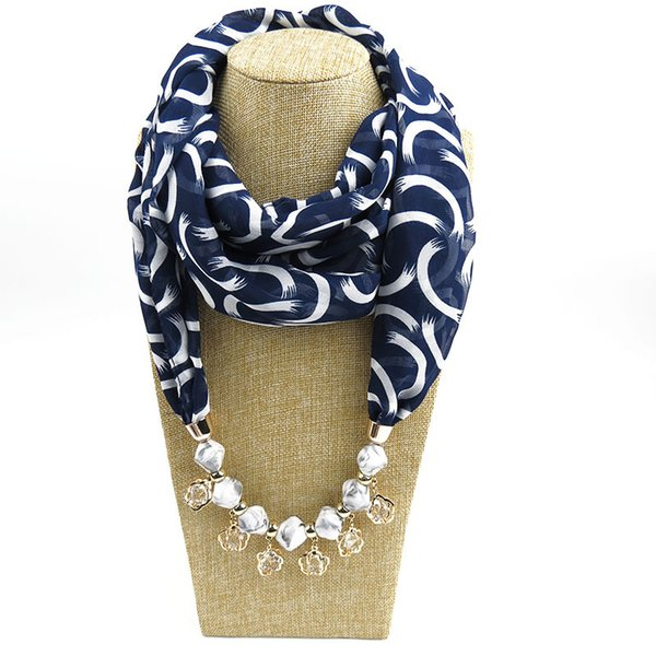 10 Colors Mix Order Pendant Scarf Jewelry Chiffon Tassel Scarves Necklace Scarfs With Shiny Water drop gem Pendants