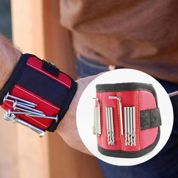 Wholesale Magnetic Wristband 37*9 cm 2pcs Strong Magnets Canvas Pocket Tool Electrician Tools Bag For Holding Screws Gadgets Tools