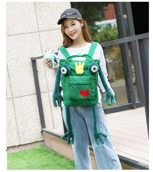 Cute and Lovely Cartoon frog Backpack Style bag Funny Distinctive Fashion Animals Canvas schoolbag For Women's Young Girl Boy Studentes