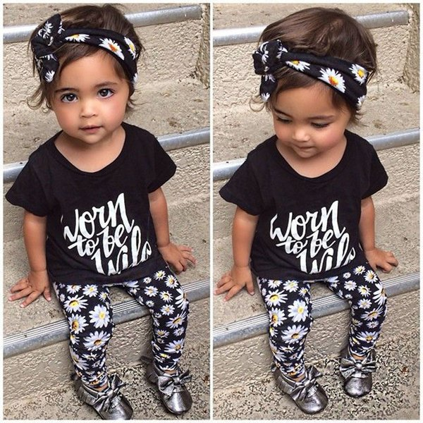fashion printed girl suits black haedband letter short t-shirt floral pants baby casual girl clothing sets 3pcs cotton o-neck tops wholesale