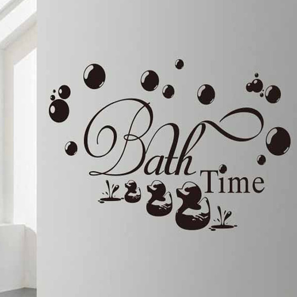 Bath Time Vinyl Wall Decals Bathroom Home Decor Lovely Ducks Wall Stickers for Wish Room Art Quotes Murals K504