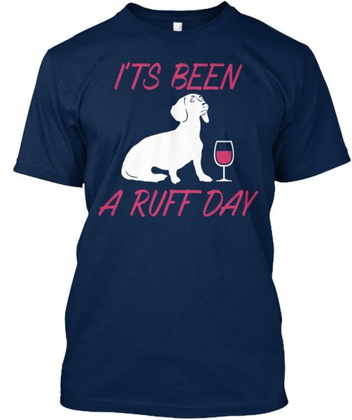 Must-have Dachshund Wine I'ts Been A Ruff Day Stylisches Stylisches T-Shirt Short Sleeve Fashion Summer Printing Casual