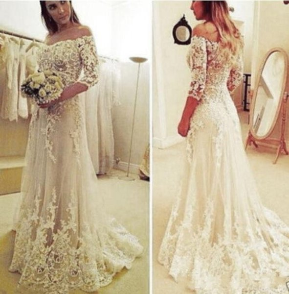 Arabic Off Shoulder Lace Tulle With Half Sleeves 2018 A Line Wedding Dresses Appliques Button Back Sweep Train Plus Size Formal Bride Gowns