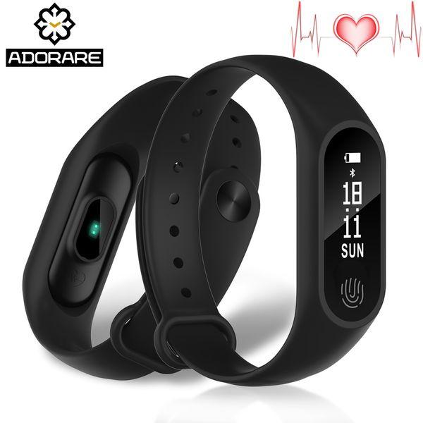ADORARE Digital Watch Women Men Fitness Tracker Heart Rate Monitor Wristband Sports Waterproof Watches Bluetooth Smart Bracelet