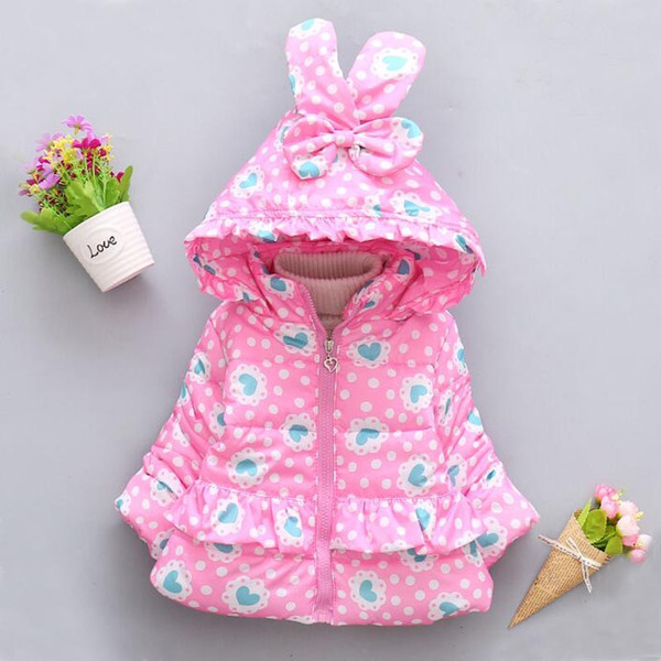 Children's Clothing Girls Cotton Coat 2018 Winter New 1-4 Years Old Female Baby Camouflage Cotton Jacket Plus Velvet Thick Coat